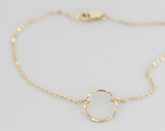 Dainty Open Circle Charm Bracelet, Delicate Karma Bracelet, Layering Bracelet • Karma Circle, 14k Gold Fill, Sterling, Rose Gold • LB132_11