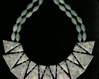 Jaded - Lotus Jade, Aventurine, Rock Quartz, Sterling Silver Necklace Bib Style, Bold Statement Short