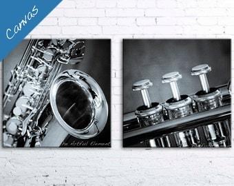 Canvas Music Decor, Music gift, Music art, Canvas wall art, Set of 2 prints, Jazz art, Trumpet art, Saxophone art // Music canvas set