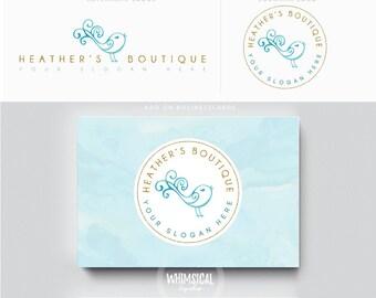 Swirly Bird-Watercolor Logo Design Branding Package Inc. feminine Logo children boutique - Photographer package logo Script Watercolor Logo
