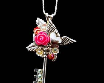 Hearts & Flowers Key Pendant