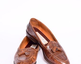 Vintage Brown Leather Loafers with Tassels