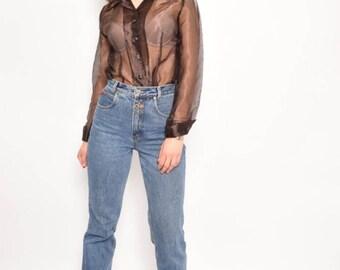 Vintage 90's Brown Mesh Long Sleeve Blouse / See Thruogh Long Sleeve Top / Brown Mesh Sheer Top - Size Medium