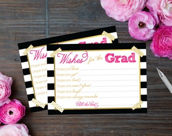 Graduation Wish Cards - Advice - PRINTABLE - Open House - Gold Foil - Black White Pink - Includes Matching Sign - INSTANT DOWNLOAD