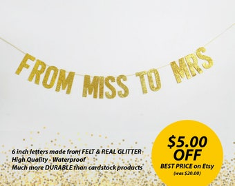 From MISS to MRS Glitter Banner. Bridal Shower Party Banner. Bridal Shower Party Decoration. Wedding Banner Garland. Wedding Decoration