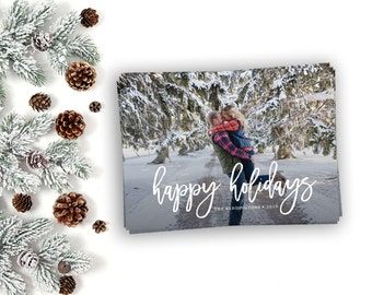 Christmas Card, Happy Holidays Brush Lettering, Photo Christmas Card