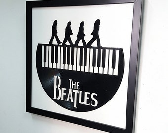 The Beatles  Abbey Road Wall Art -Vinyl LP Record  Framed -Great Rock'n'Roll Gift