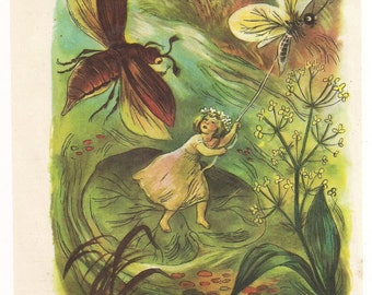 Vintage Book Illustration Thumbelina and Flying trunk Page Print Plate Paper Ephemera Fairy Tale Children Story Old Victorian Antique
