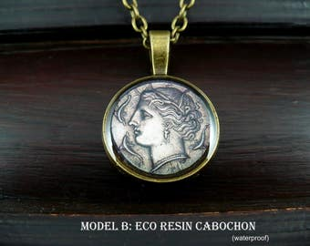 Ancient coin jewelry, greek goddess, greek mythology, greek statue, ancient Greece, historical jewelry Sicily, classical art 15% off ship