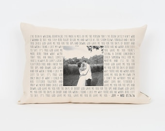 Personalized Song Lyric Gift, 2nd Anniversary Cotton Gift, Photo Pillow, Wedding Gift Husband, Valentine's Day Gift, Anniversary Gift