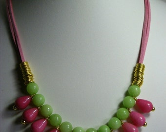 Pink and Green Quartzite Necklace