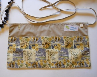 Tropical Fish and Bamboo Utility Apron / Four Pocket Tropical Style Apron