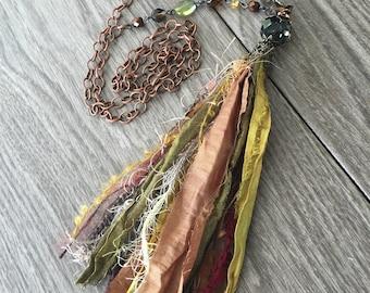 Sari Ribbon Tassel Necklace - Spice Market