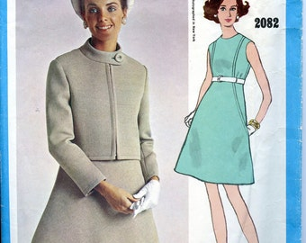 1960s VOGUE 2082 Americana Mod DRESS & Jacket Pattern Zipper Front Jacket Chuck Howard Bust 32.5 Size 10 Womens Sewing Patterns INCOMPLETE