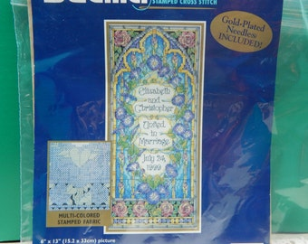 "Tiffany Wedding Stamped Cross Stitch Kit Open No Count Bucilla 1999 6"" x 13"" Multi-Lingual Marriage Record Mary's Neat Knits and Kits"