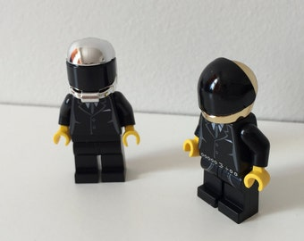 Electro Rock Custom Mini Figures with Rare Chrome Helmets - Made From Lego Pieces