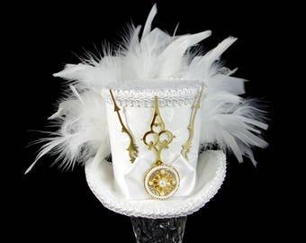 White on White with Gold Wedding Steampunk Medium Mini Top Hat Fascinator, Alice in Wonderland, Mad Hatter Tea Party, Derby Hat