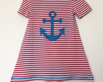 Sailor t shirt dress, Anchor , stripes dress