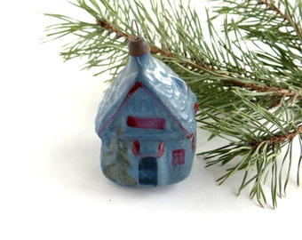 Vintage house Christmas glass ornament Christmas tree Collectible ornament Soviet Christmas Blue Cabin Figurine decoration Xmas glass gift