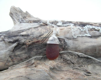Amber Cornish Sea Glass Necklace ~ Sterling Silver ~ Cornish
