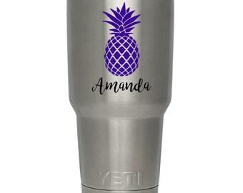 Custom vinyl decal - pineapple with name