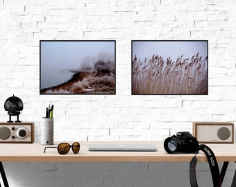 Set of photo art print, Nordic winter photography, Minimalist landscape photo, Scandinavian photo art, Modern woodland and Coastal fine art