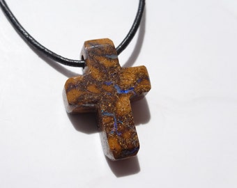 Genuine Opal cross necklace, Genuine Australian opal cross pendant, Religious jewellery, Koroit opal, Cross necklace
