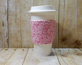 Fabric Coffee Cozy / Pink Flowers Coffee Cozy / Flower Coffee Cozy / Pink Coffee Cozy / Coffee Cozy / Tea Cozy