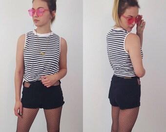 90's Gray & White Striped Tank Top - Medium Stripe Crop Top - Vintage Women's Basic Staple Spring Summer Fashion - Comfy Soft 1990's Tank