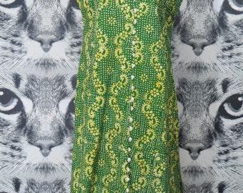 70s Green Batik Sleeveless Maxi Dress with Side Slits / L / XL