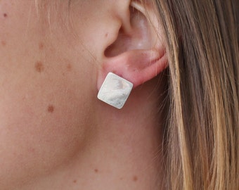 Diamond Squares - Recycled Silver Studs