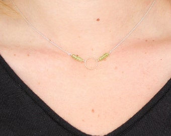 Peridot & Vintage Gold Baby Ring on Recycled Sterling Chain Necklace