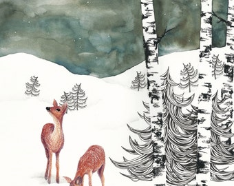 A5 Art Print / Postcard, Deers in Winter Night, Watercolor, Soft Pastels, Oil Pastels, Pen and Pencils