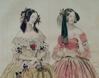 Fashion of Paris, 1840, from the Petit Courrier des Dames, Original Hand Colored Steel Engraving, French Ladies, Modes de Paris