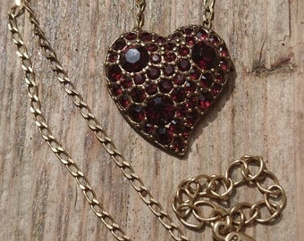 Vintage Pilgrim Danish design red stone witches heart pendant and chain