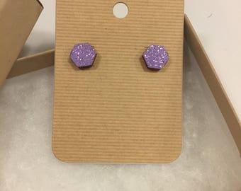 Lavender glitter hexagon wooden earrings