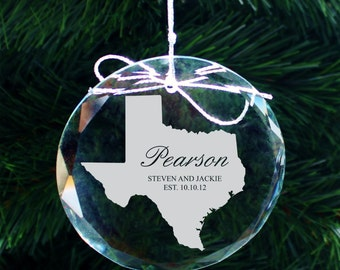 SHIPS FAST, Any State Personalized Ornament, Custom Family Christmas Ornament, Engraved Crystal Family Ornament, Holiday Ornament, COR39