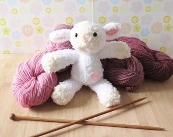 White Knitted Lamb Plush Toy - Knit Lamb doll - Stuffed lamb - Knitted Lamb - White sheep plush toy