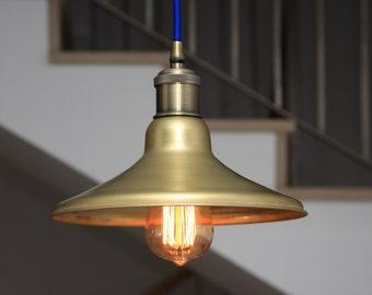 Industrial Light Pendant , Ceiling Fixture, Edison bulb, Vintage Style, Rustic Lighting,steampunk light,Spun Cone,Spun Brass Cone Shade