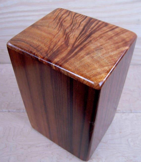 "Curly Hawaiian Koa Medium Size Memorial Cremation Urn...5 3/4"" x 5"" x 9"" ..Constant Supply On Hand MK042617-1 Wooden Urn"