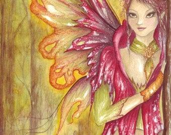 Autumn Spirit/Original Watercolour Painting/Fairy Art/Original Painting/Fairy art/Toadstool/Woodland/Fly Argaric/Autumn/Autumnal