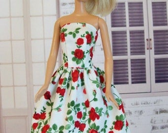 Handmade Barbie Clothes - Red Rose Dress, Fashion Doll Clothes, Doll Dress, Barbie Clothing