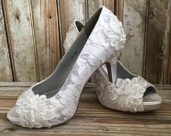 Platform Open Toe Bridal Heel Open Toe Wedding Pump Platform Lace Bridal Shoe Silver Trim Prom Platform Open Toe Pumps