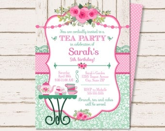 Tea party invitation | Etsy