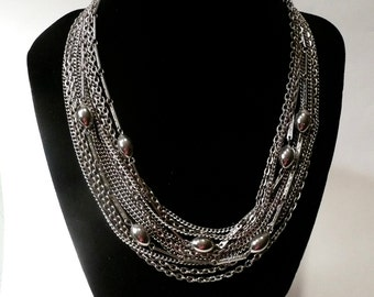 Vintage Mid Century Silver Tone Multi Chain Necklace