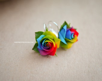 Rainbow roses earrings , Polymer clay rainbow rose, Handmade rose earrings, Tie Dye rose earrings, Tie Dye wedding, Multicolor clay roses