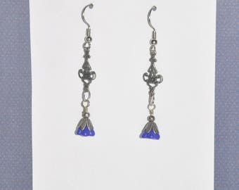 Earrings Silver Filigree Blue Flower Glass #E02a