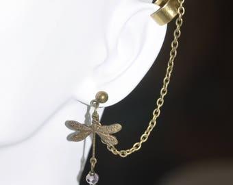 Earrings Brass Cuff Stud Dragonfly Grey Smoky Crystal Chain Asymmetrical #A15