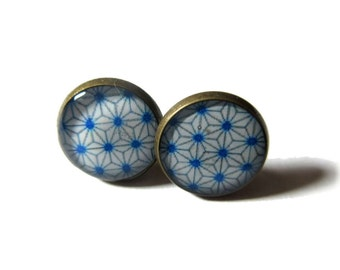 BLUE GEOMETRIC EARRINGS - Japanese Earrings - Stud Earrings - Gifts For Women - Geometric Jewellery - Blue Stars
