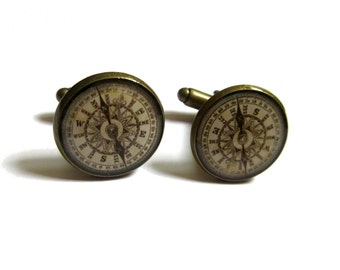 ANTIQUE COMPASS CUFFLINKS - traveler gift - compass cuff links - vintage compass cuff links - men cufflinks - Wedding Cufflink
